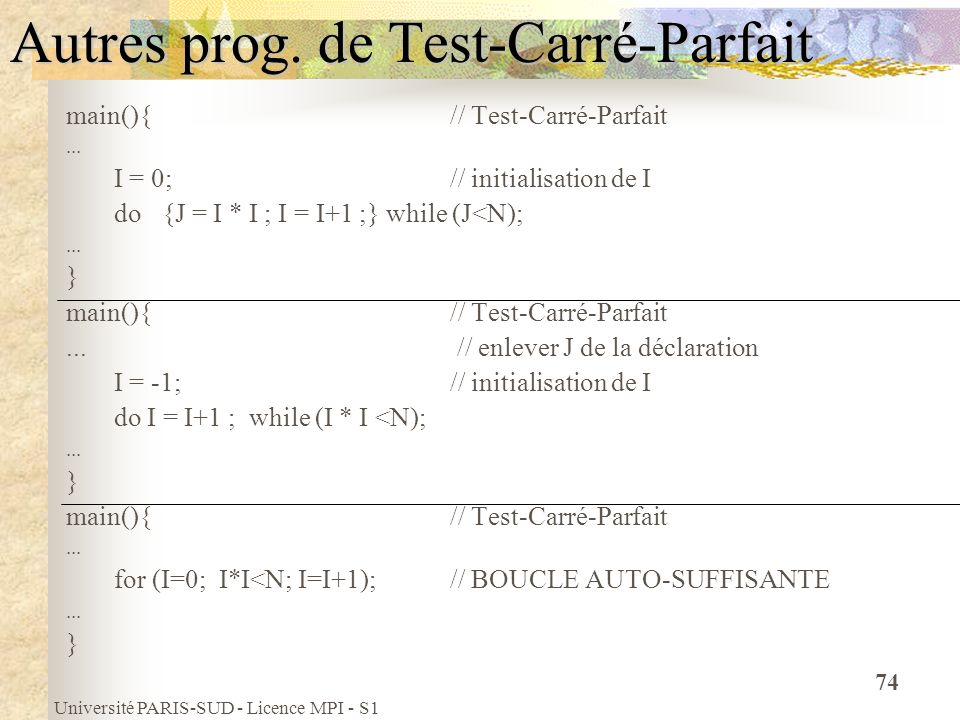 Université PARIS-SUD - Licence MPI - S1 74 Autres prog. de Test-Carré-Parfait main(){ // Test-Carré-Parfait... I = 0; // initialisation de I do {J = I