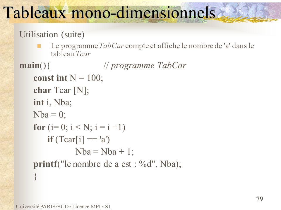 Université PARIS-SUD - Licence MPI - S1 79 Tableaux mono-dimensionnels Utilisation (suite) Le programme TabCar compte et affiche le nombre de 'a' dans