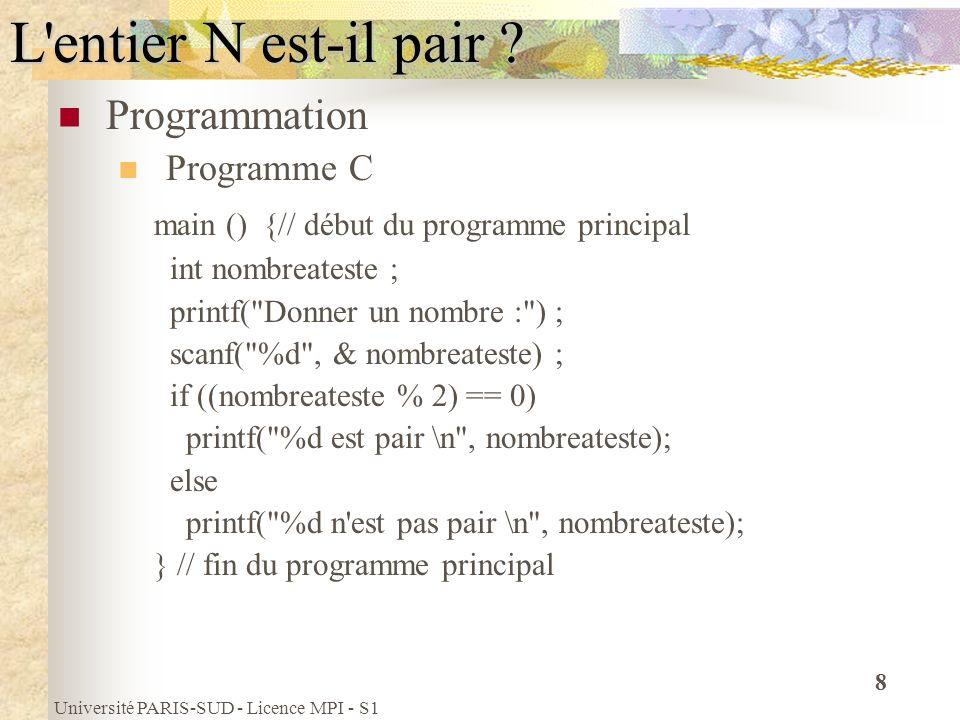 Université PARIS-SUD - Licence MPI - S1 79 Tableaux mono-dimensionnels Utilisation (suite) Le programme TabCar compte et affiche le nombre de a dans le tableau Tcar main(){ // programme TabCar const int N = 100; char Tcar [N]; int i, Nba; Nba = 0; for (i= 0; i < N; i = i +1) if (Tcar[i] == a ) Nba = Nba + 1; printf( le nombre de a est : %d , Nba); }