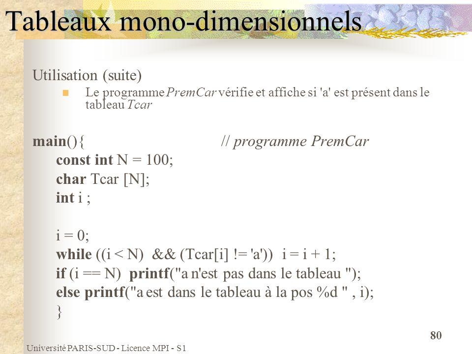 Université PARIS-SUD - Licence MPI - S1 80 Tableaux mono-dimensionnels Utilisation (suite) Le programme PremCar vérifie et affiche si 'a' est présent