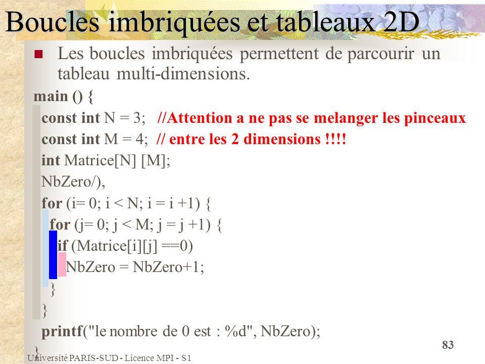 Université PARIS-SUD - Licence MPI - S1 83 Boucles imbriquées et tableaux 2D Les boucles imbriquées permettent de parcourir un tableau multi-dimension