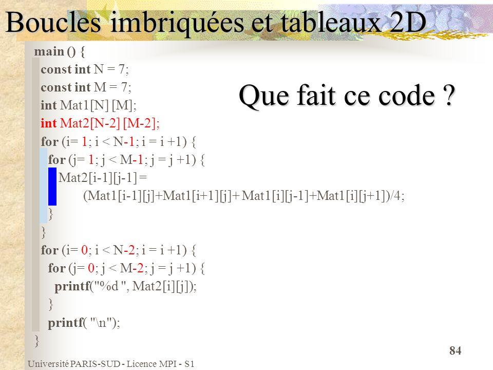 Université PARIS-SUD - Licence MPI - S1 84 Boucles imbriquées et tableaux 2D main () { const int N = 7; const int M = 7; int Mat1[N] [M]; int Mat2[N-2