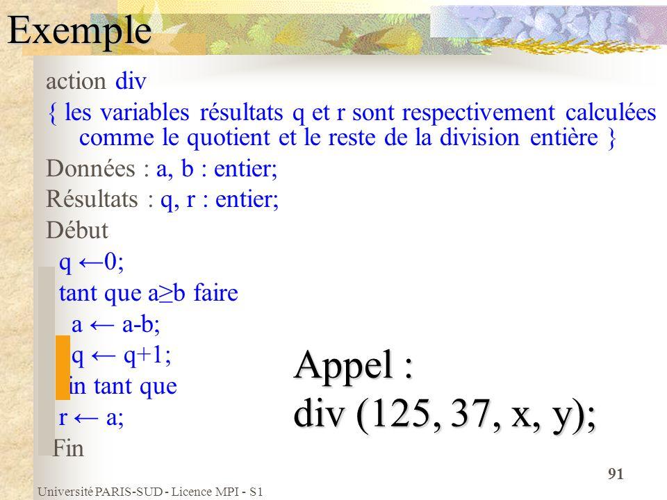 Université PARIS-SUD - Licence MPI - S1 91Exemple action div { les variables résultats q et r sont respectivement calculées comme le quotient et le re