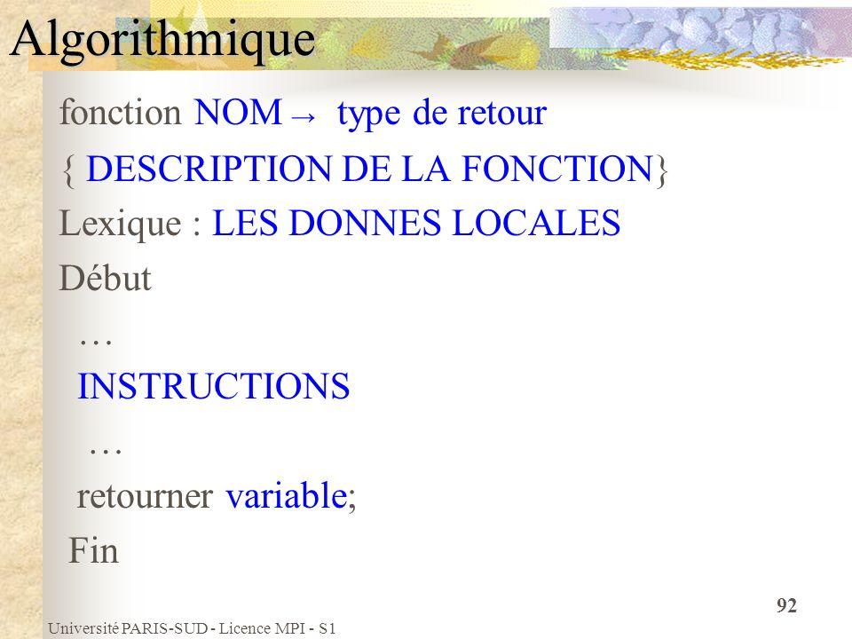 Université PARIS-SUD - Licence MPI - S1 92Algorithmique fonction NOM type de retour { DESCRIPTION DE LA FONCTION} Lexique : LES DONNES LOCALES Début …