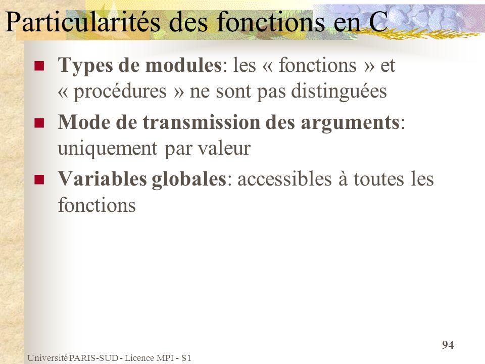 Université PARIS-SUD - Licence MPI - S1 94 Particularités des fonctions en C Types de modules: les « fonctions » et « procédures » ne sont pas disting