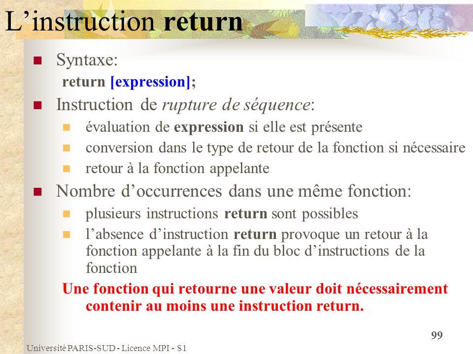 Université PARIS-SUD - Licence MPI - S1 99 Linstruction return Syntaxe: return [expression]; Instruction de rupture de séquence: évaluation de express