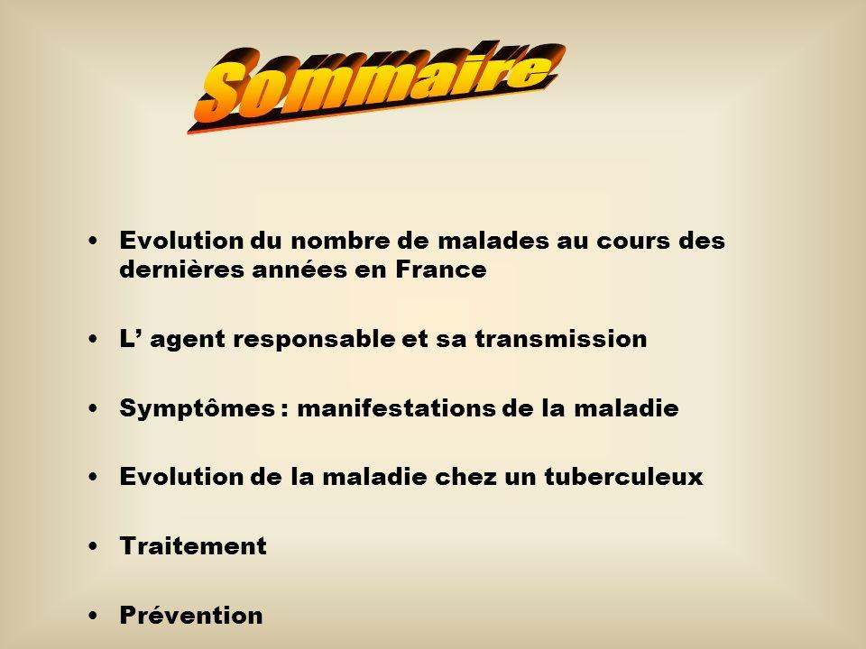 Evolution du nombre de malades au cours des dernières années en France L agent responsable et sa transmission Symptômes : manifestations de la maladie