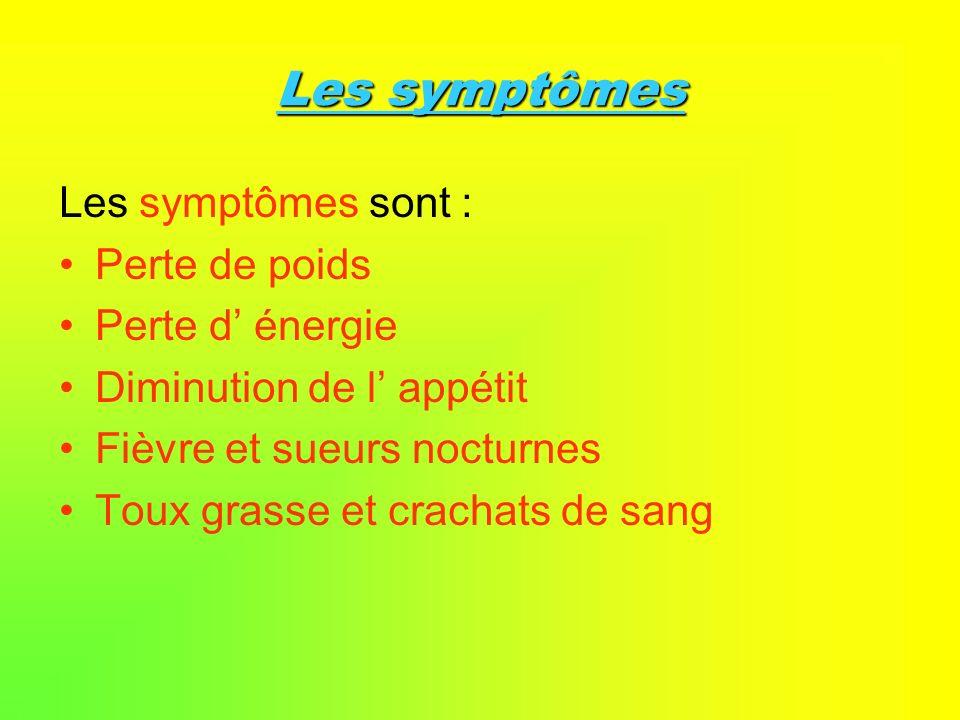 Les symptômes Les symptômes sont : Perte de poids Perte d énergie Diminution de l appétit Fièvre et sueurs nocturnes Toux grasse et crachats de sang