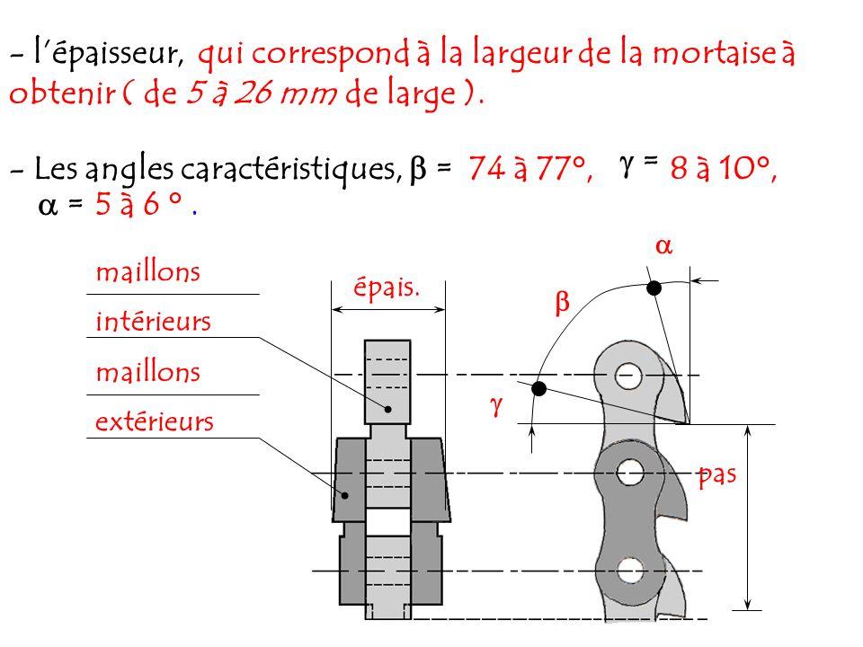 - lépaisseur, qui correspond à la largeur de la mortaise à obtenir ( de 5 à 26 mm de large ). 74 à 77°,8 à 10°, - Les angles caractéristiques, = = = 5