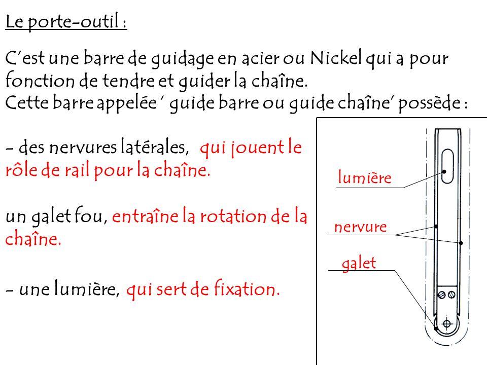 Le porte-outil : Cest une barre de guidage en acier ou Nickel qui a pour fonction de tendre et guider la chaîne. Cette barre appelée guide barre ou gu