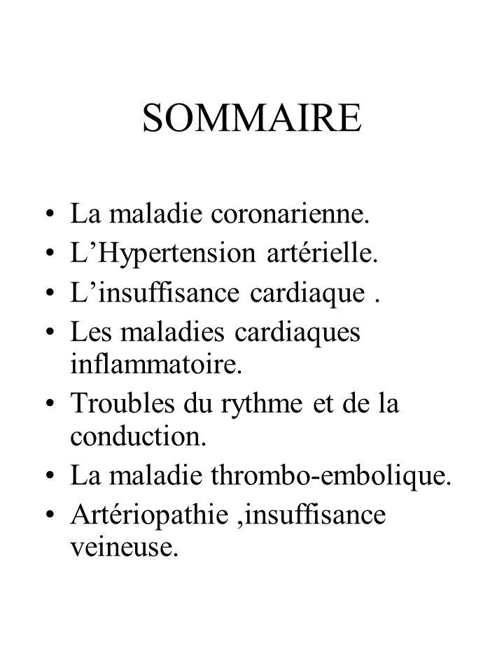 SOMMAIRE La maladie coronarienne. LHypertension artérielle. Linsuffisance cardiaque. Les maladies cardiaques inflammatoire. Troubles du rythme et de l