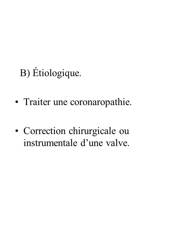 B) Étiologique. Traiter une coronaropathie. Correction chirurgicale ou instrumentale dune valve.