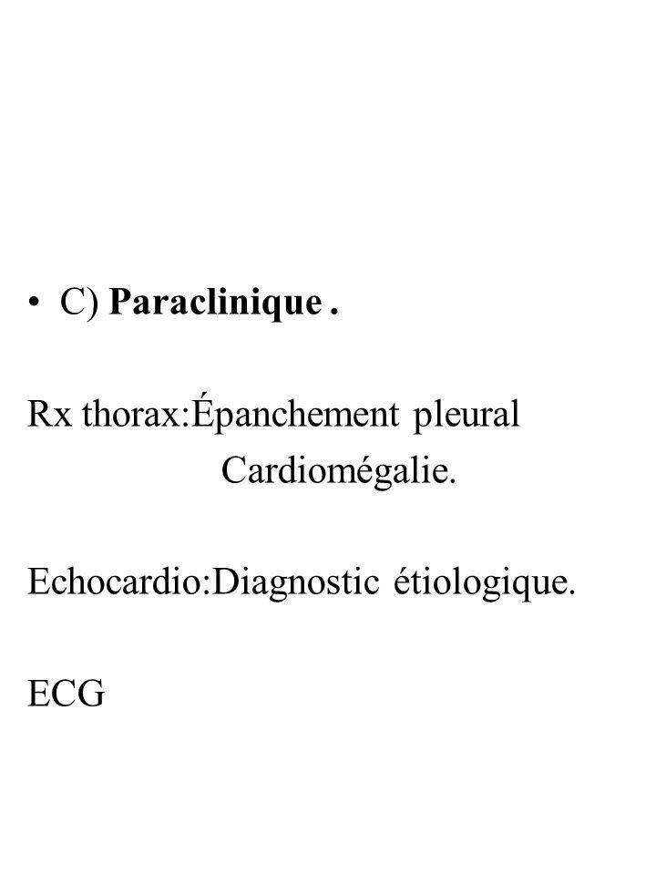 C) Paraclinique. Rx thorax:Épanchement pleural Cardiomégalie. Echocardio:Diagnostic étiologique. ECG