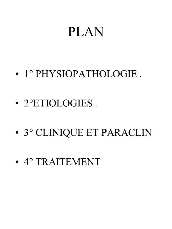 PLAN 1° PHYSIOPATHOLOGIE. 2°ETIOLOGIES. 3° CLINIQUE ET PARACLIN 4° TRAITEMENT