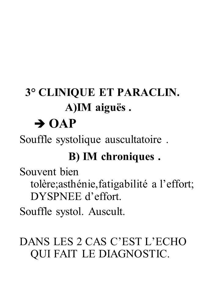 3° CLINIQUE ET PARACLIN. A)IM aiguës. OAP Souffle systolique auscultatoire. B) IM chroniques. Souvent bien tolère;asthénie,fatigabilité a leffort; DYS