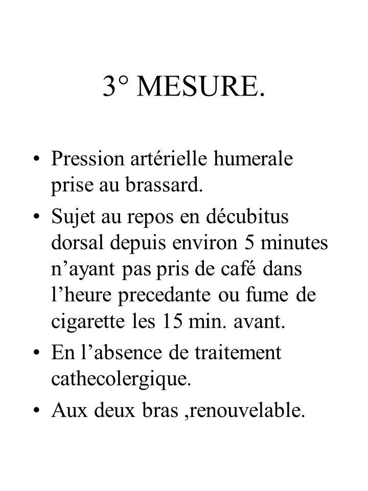 3° MESURE. Pression artérielle humerale prise au brassard. Sujet au repos en décubitus dorsal depuis environ 5 minutes nayant pas pris de café dans lh
