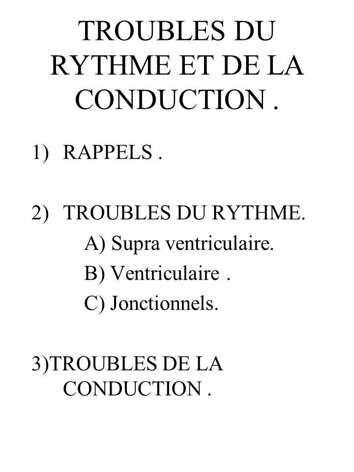 TROUBLES DU RYTHME ET DE LA CONDUCTION. 1)RAPPELS. 2)TROUBLES DU RYTHME. A) Supra ventriculaire. B) Ventriculaire. C) Jonctionnels. 3)TROUBLES DE LA C