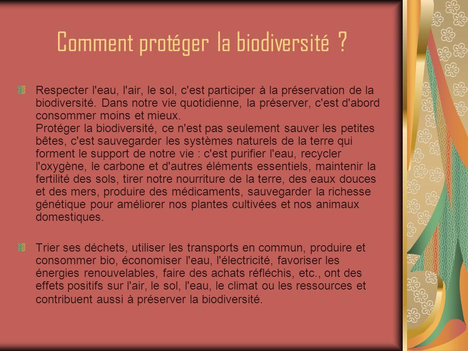 Conclusion Lors du Sommet de la Terre à Rio en 1992, la biodiversité est apparue comme un bien vital et commun à tous.