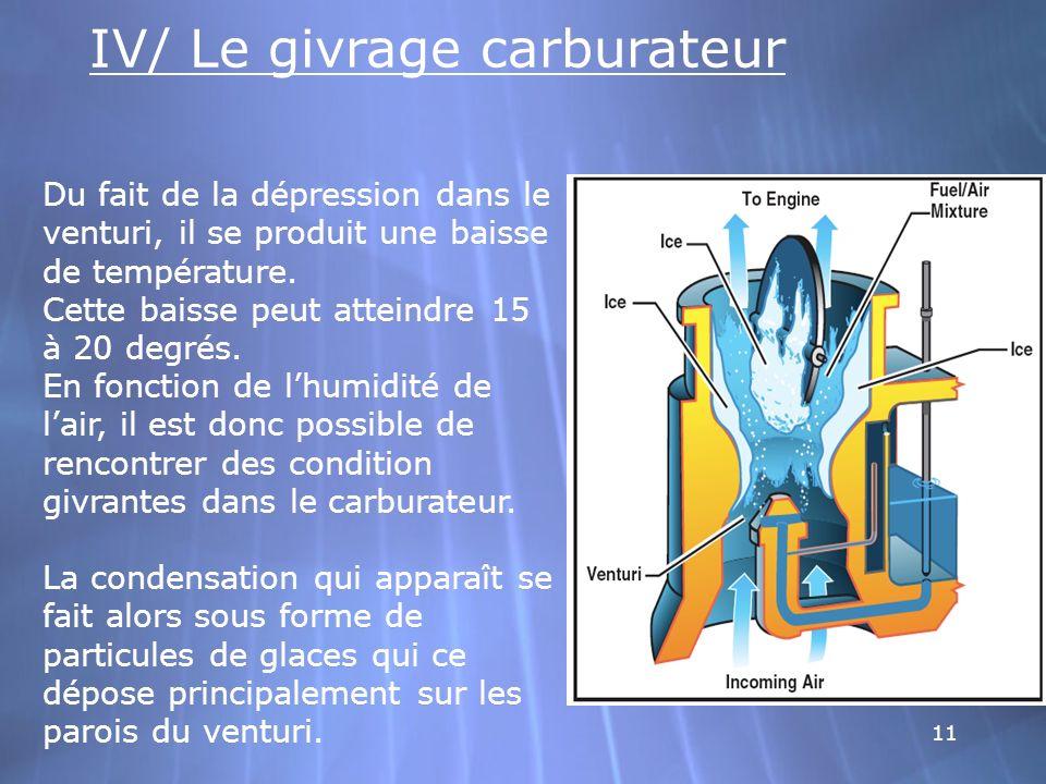 11 IV/ Le givrage carburateur Du fait de la dépression dans le venturi, il se produit une baisse de température. Cette baisse peut atteindre 15 à 20 d