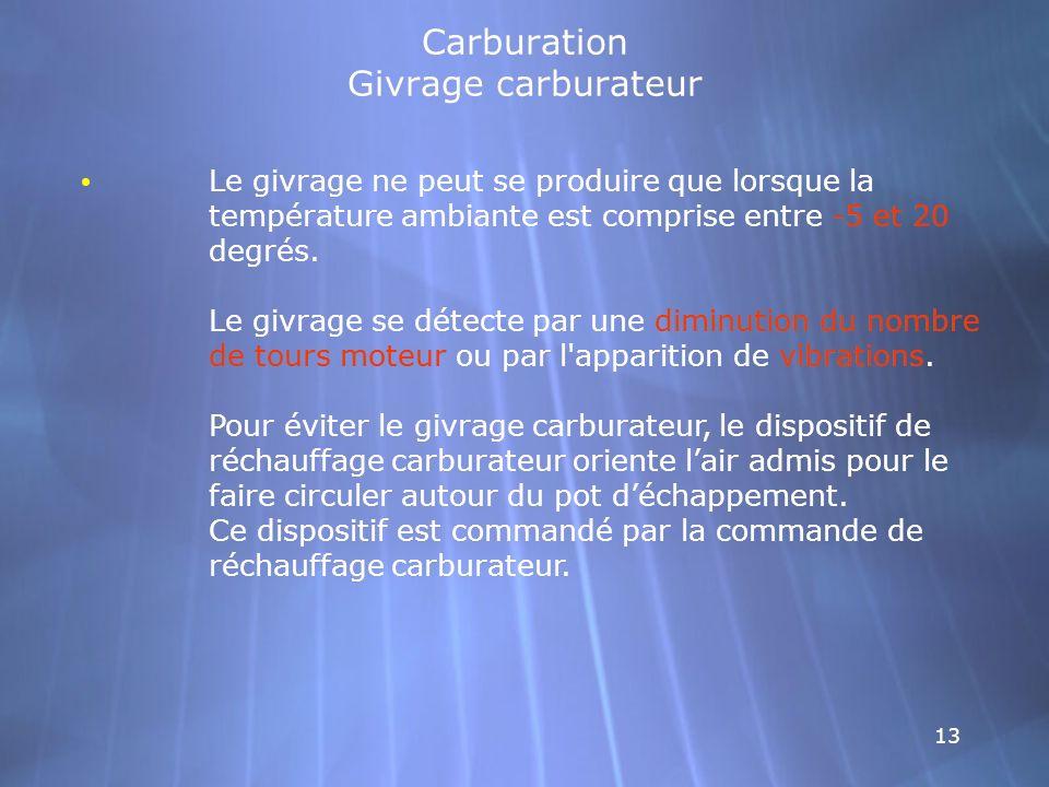 13 Carburation Givrage carburateur Le givrage ne peut se produire que lorsque la température ambiante est comprise entre -5 et 20 degrés. Le givrage s
