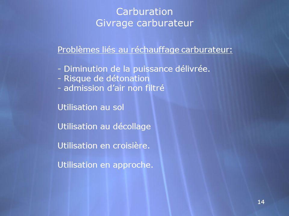 14 Carburation Givrage carburateur Problèmes liés au réchauffage carburateur: - Diminution de la puissance délivrée. - Risque de détonation - admissio