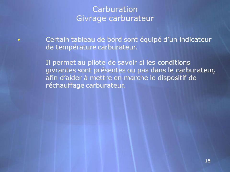 15 Carburation Givrage carburateur Certain tableau de bord sont équipé dun indicateur de température carburateur. Il permet au pilote de savoir si les