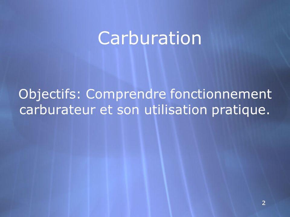 2 Objectifs: Comprendre fonctionnement carburateur et son utilisation pratique.