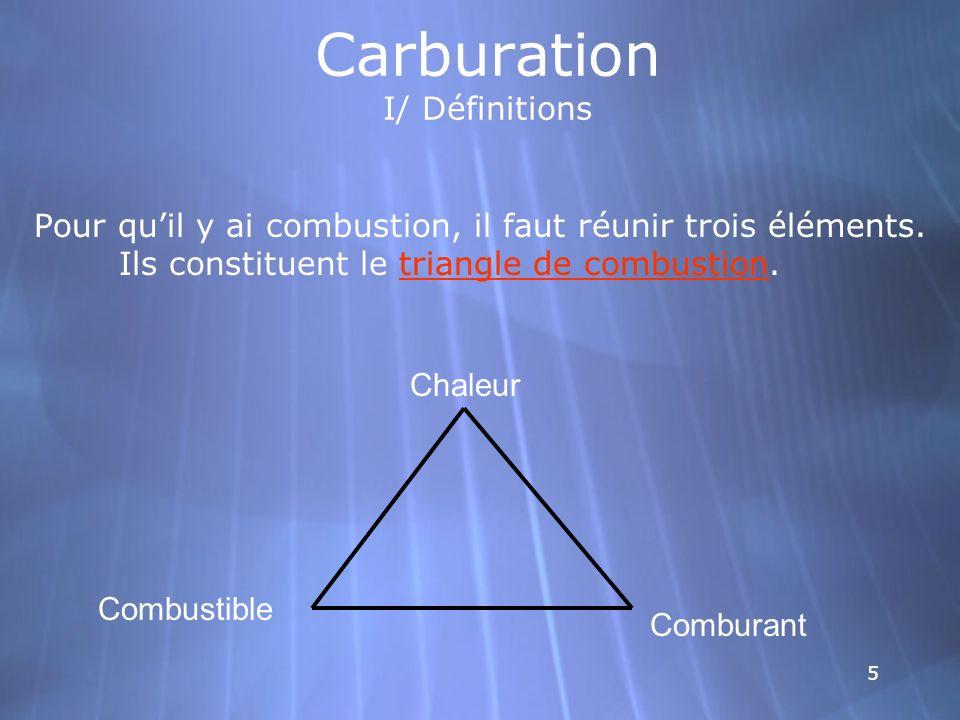 5 Carburation I/ Définitions Pour quil y ai combustion, il faut réunir trois éléments. Ils constituent le triangle de combustion. Chaleur Combustible