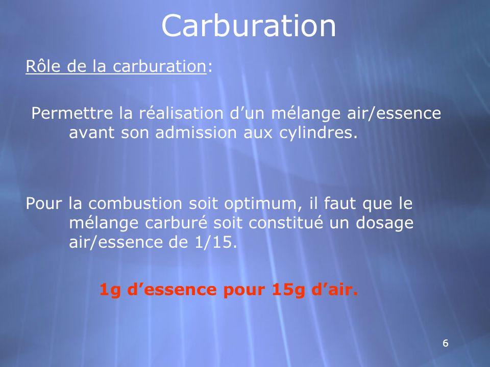 6 Carburation Rôle de la carburation: Permettre la réalisation dun mélange air/essence avant son admission aux cylindres. Pour la combustion soit opti