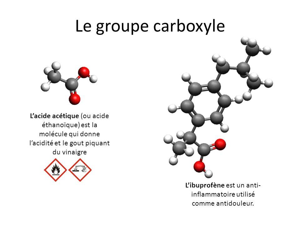 Le groupe carboxyle Libuprofène est un anti- inflammatoire utilisé comme antidouleur. Lacide acétique (ou acide éthanoïque) est la molécule qui donne