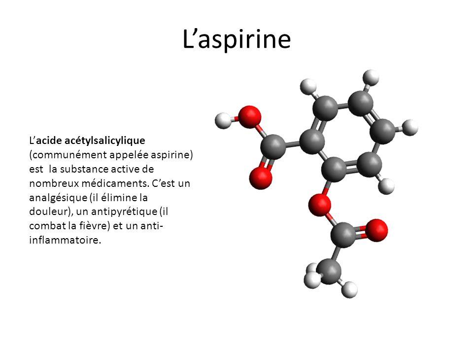 Laspirine Lacide acétylsalicylique (communément appelée aspirine) est la substance active de nombreux médicaments. Cest un analgésique (il élimine la