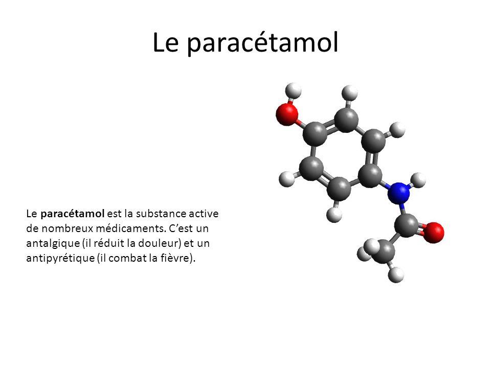 Le paracétamol Le paracétamol est la substance active de nombreux médicaments. Cest un antalgique (il réduit la douleur) et un antipyrétique (il comba