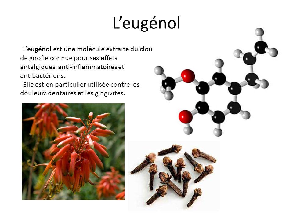 Leugénol est une molécule extraite du clou de girofle connue pour ses effets antalgiques, anti-inflammatoires et antibactériens. Elle est en particuli