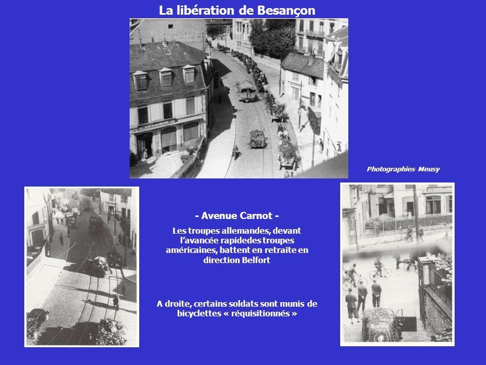 - Avenue Carnot - Les troupes allemandes, devant lavancée rapidedes troupes américaines, battent en retraite en direction Belfort A droite, certains s