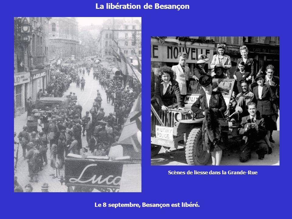 La libération de Besançon Le 23 septembre, le général De Gaulle prononce un discours place Saint Pierre.