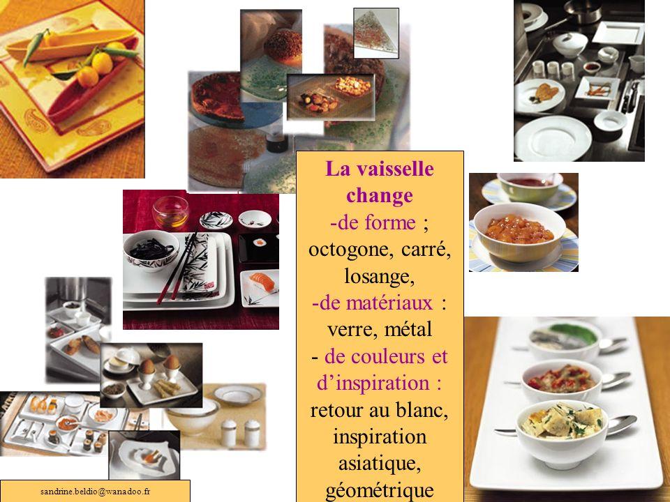 La vaisselle change -de forme ; octogone, carré, losange, -de matériaux : verre, métal - de couleurs et dinspiration : retour au blanc, inspiration as