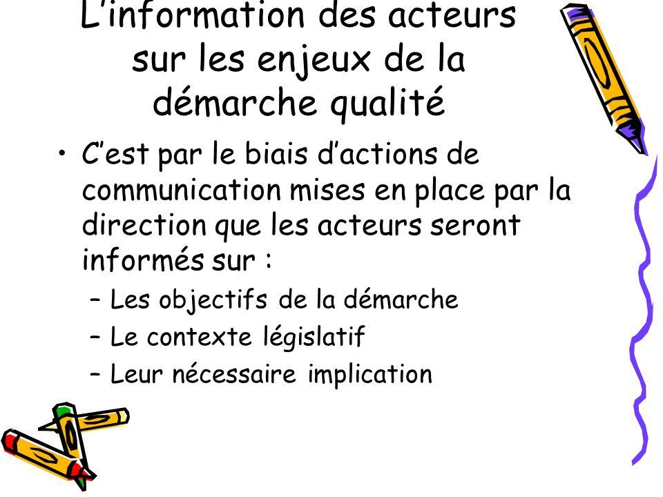 Linformation des acteurs sur les enjeux de la démarche qualité Cest par le biais dactions de communication mises en place par la direction que les act