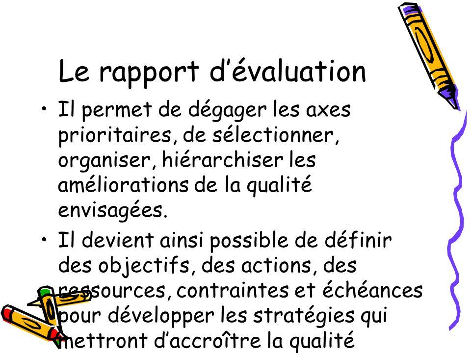 Le rapport dévaluation Il permet de dégager les axes prioritaires, de sélectionner, organiser, hiérarchiser les améliorations de la qualité envisagées