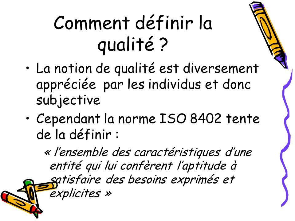 Comment définir la qualité ? La notion de qualité est diversement appréciée par les individus et donc subjective Cependant la norme ISO 8402 tente de