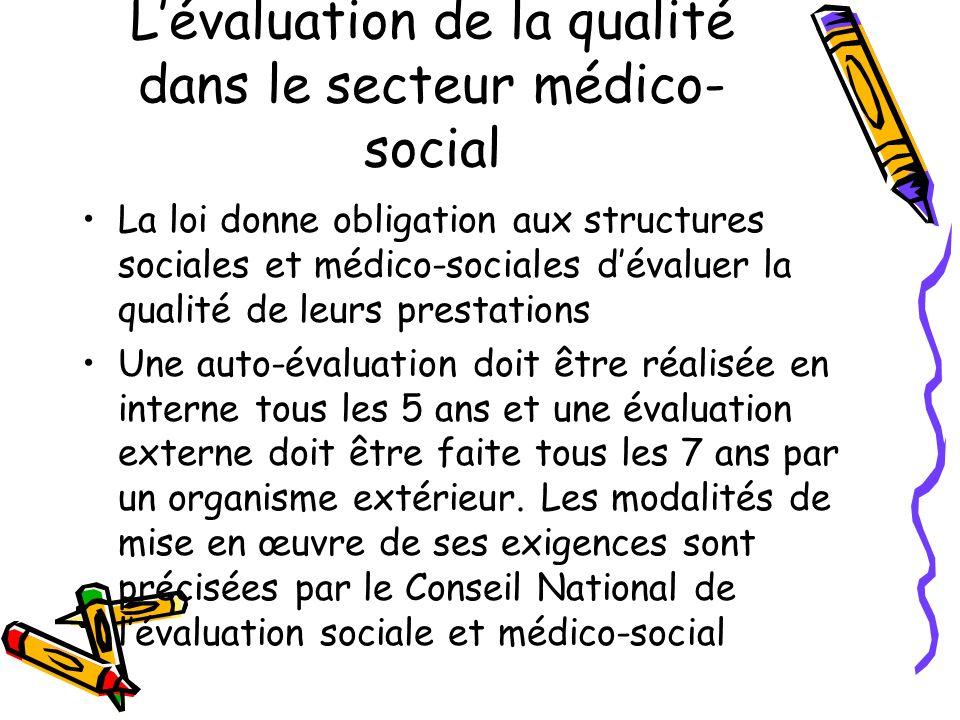 Lévaluation de la qualité dans le secteur médico- social La loi donne obligation aux structures sociales et médico-sociales dévaluer la qualité de leu