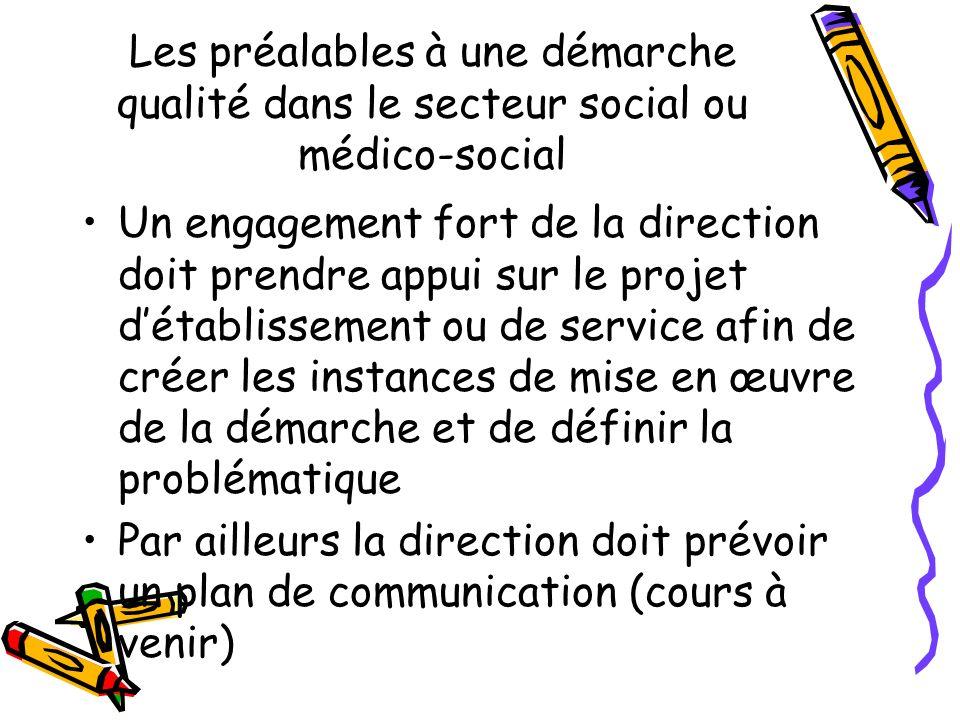 Les préalables à une démarche qualité dans le secteur social ou médico-social Un engagement fort de la direction doit prendre appui sur le projet déta