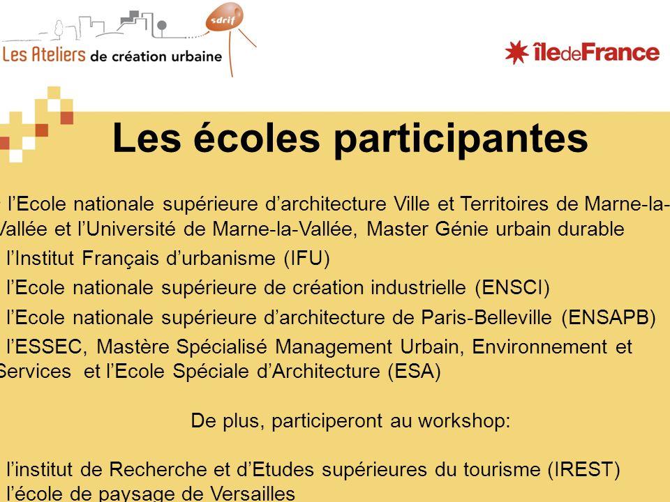 Les écoles participantes lEcole nationale supérieure darchitecture Ville et Territoires de Marne-la- Vallée et lUniversité de Marne-la-Vallée, Master