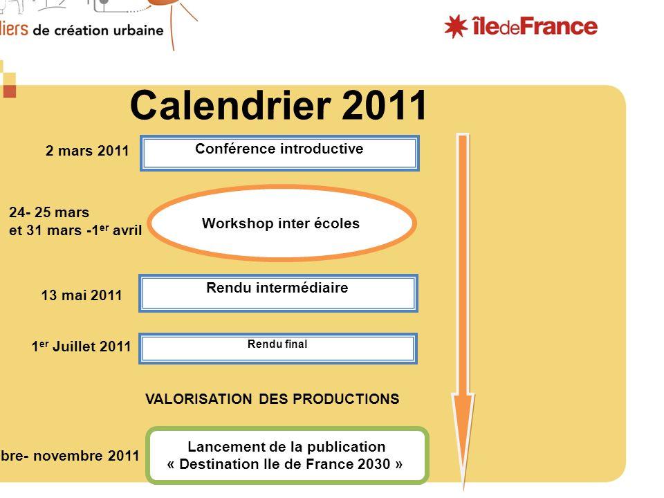 Calendrier 2011 des Ateliers de création urbaine 2011 Conférence introductive Workshop inter écoles Rendu intermédiaire Rendu final Lancement de la pu