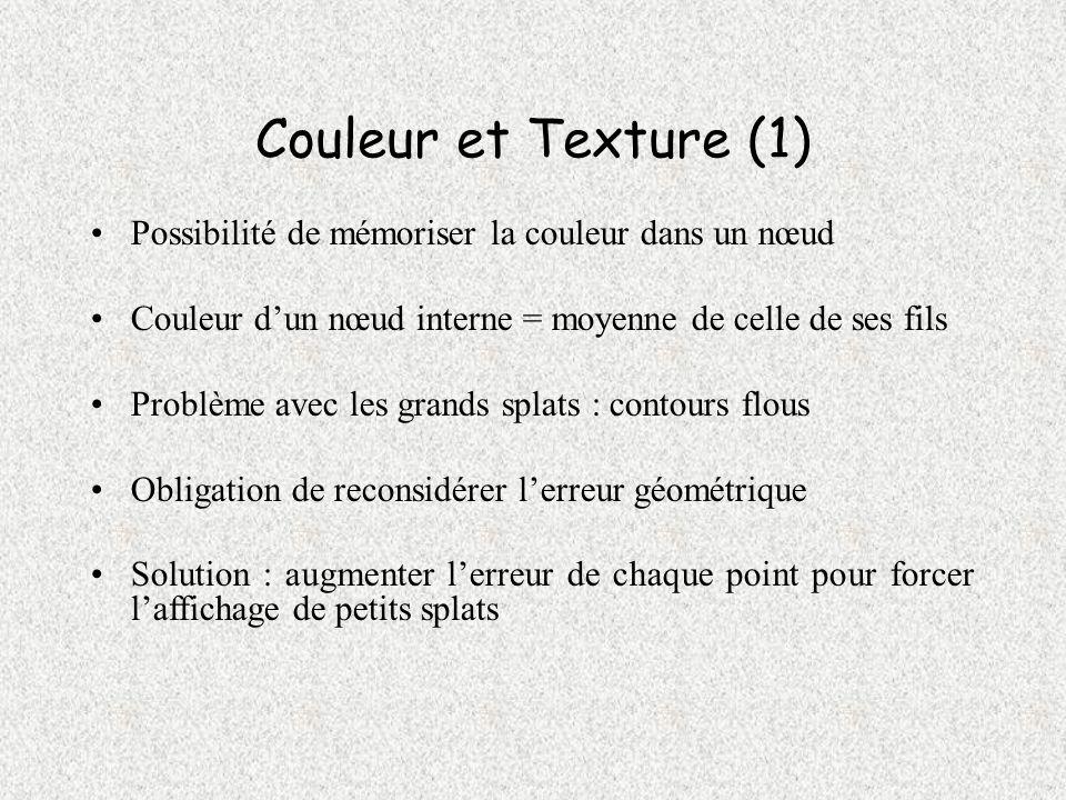 Couleur et Texture (1) Possibilité de mémoriser la couleur dans un nœud Couleur dun nœud interne = moyenne de celle de ses fils Problème avec les gran