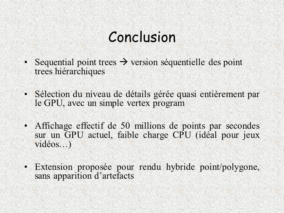 Conclusion Sequential point trees version séquentielle des point trees hiérarchiques Sélection du niveau de détails gérée quasi entièrement par le GPU