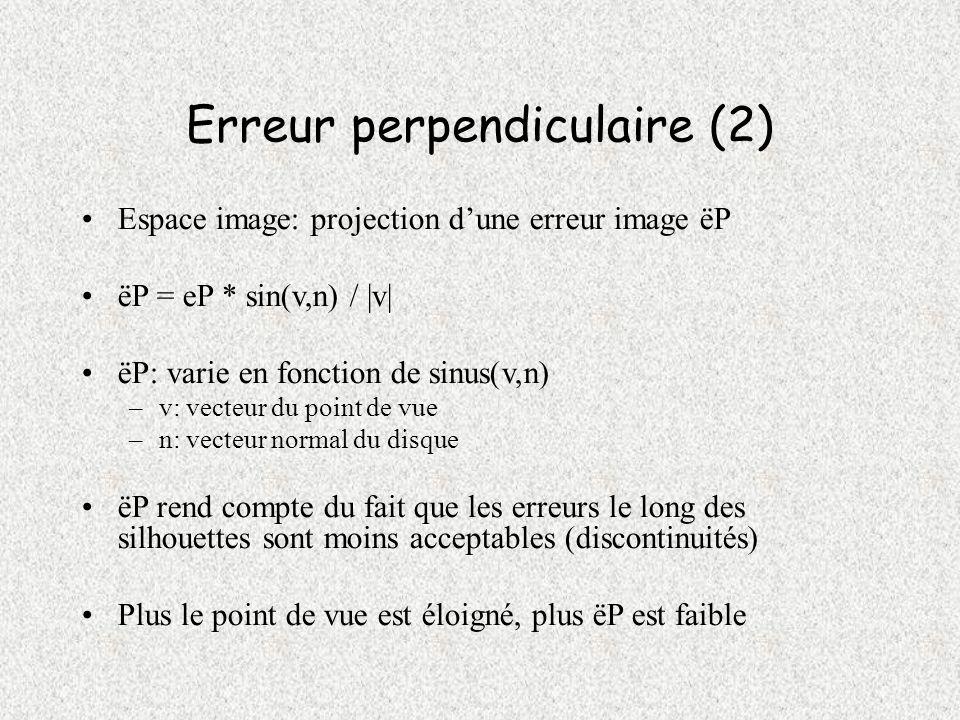 Erreur tangentielle (1) eT = diamètre du disque père – largeur minimale de lensemble des disques fils Mesure si un disque parent couvre une trop grande surface Conséquences: erreurs sur les bords des surfaces