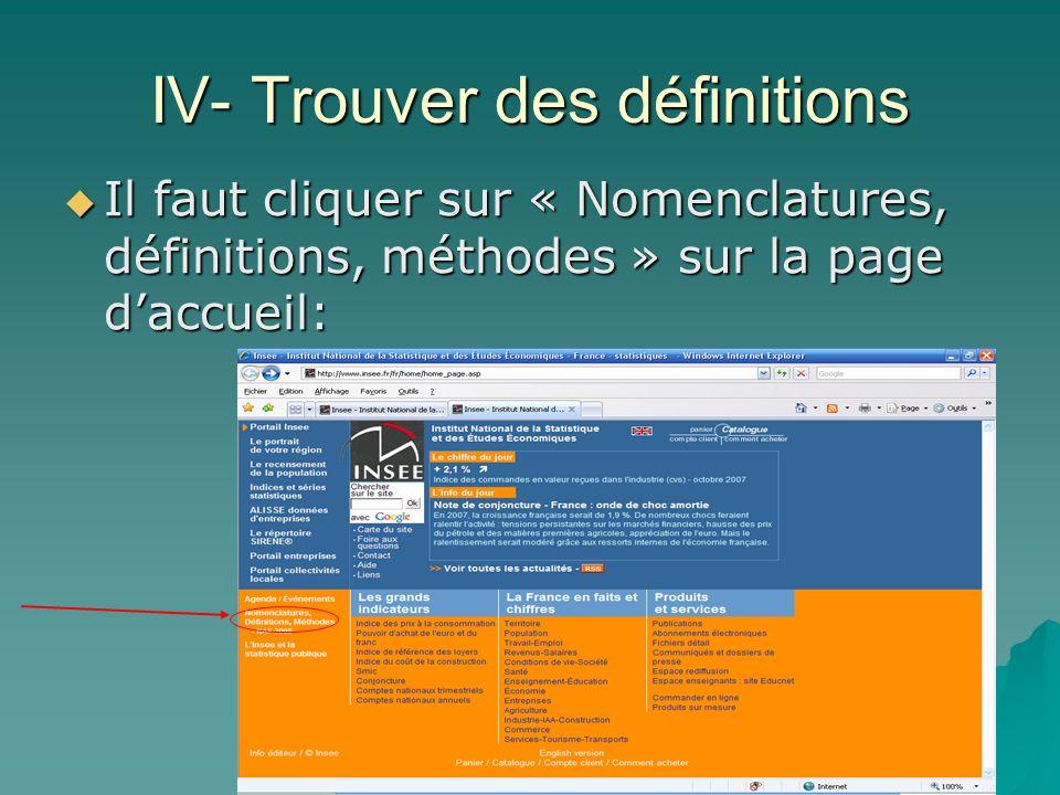 IV- Trouver des définitions Il faut cliquer sur « Nomenclatures, définitions, méthodes » sur la page daccueil: Il faut cliquer sur « Nomenclatures, dé