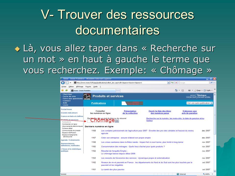 V- Trouver des ressources documentaires Là, vous allez taper dans « Recherche sur un mot » en haut à gauche le terme que vous recherchez. Exemple: « C