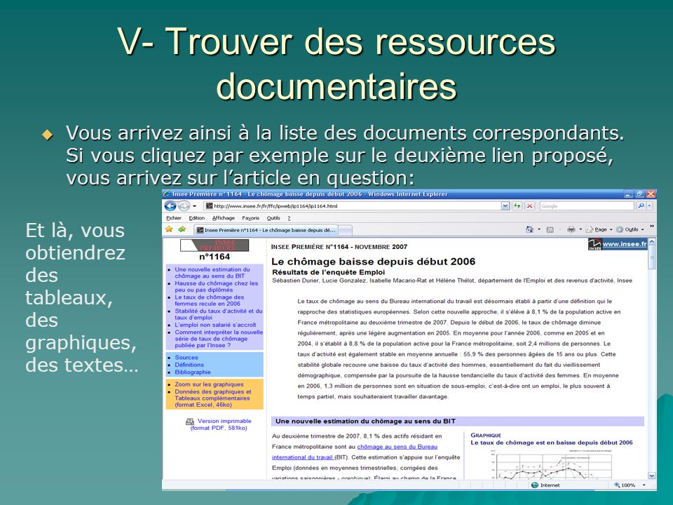 V- Trouver des ressources documentaires Vous arrivez ainsi à la liste des documents correspondants. Si vous cliquez par exemple sur le deuxième lien p