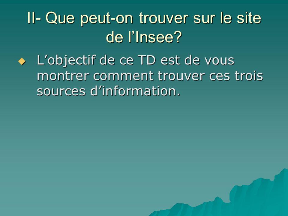 II- Que peut-on trouver sur le site de lInsee? Lobjectif de ce TD est de vous montrer comment trouver ces trois sources dinformation. Lobjectif de ce